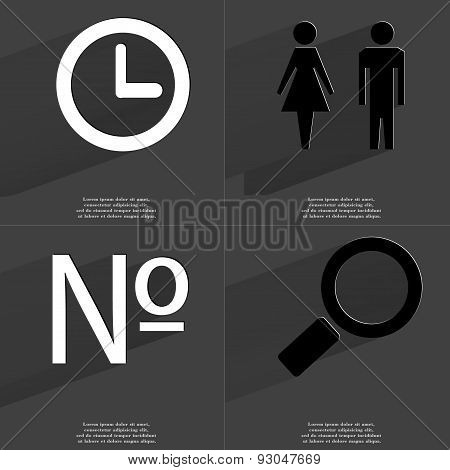 Clock, Silhouette Of Man And Woman, Numero Sign, Magnifying Glass. Symbols With Long Shadow. Flat De