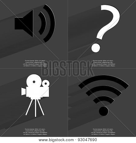 Sound Icon, Question Mark, Film Camera, Wlan Icon. Symbols With Long Shadow. Flat Design