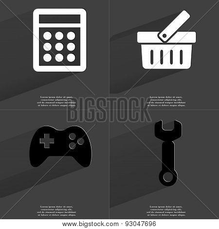 Calculator, Basket, Gamepad, Wrench. Symbols With Long Shadow. Flat Design