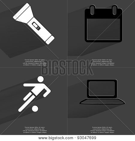 Flashlight, Calendar, Silhouette Of A Football Player, Laptop. Symbols With Long Shadow. Flat Design