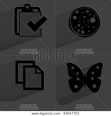 Task Completed, Pizza, Copy Icon, Butterfly. Symbols With Long Shadow. Flat Design