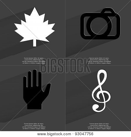 Maple Leaf, Camera, Hand, Clef. Symbols With Long Shadow. Flat Design