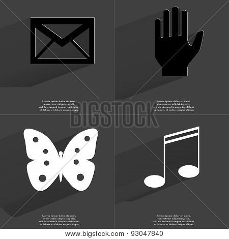 Message, Hand, Butterfly, Note Sign. Symbols With Long Shadow. Flat Design