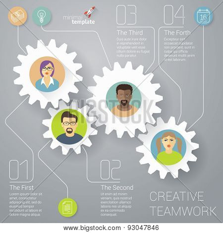 The teamwork vector infographic  template.