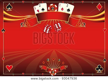 Horizontal red Casino background. A red casino horizontal background for your pad or your screen