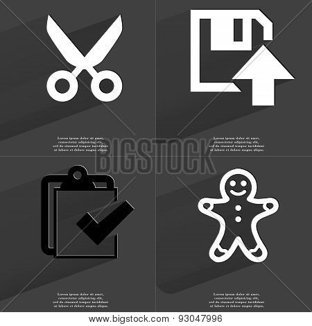 Scissors, Floppy Disk Upload, Task Completed Icon, Gingerbread Man. Symbols With Long Shadow. Flat D