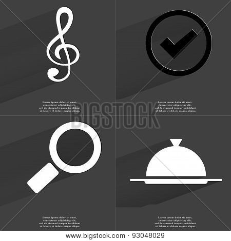 Clef, Tick Sign, Magnifying Glass, Tray. Symbols With Long Shadow. Flat Design