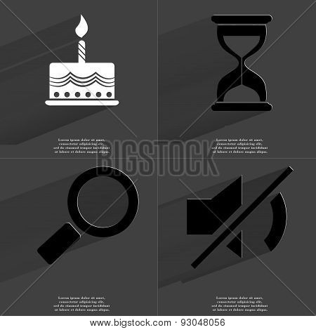 Cake, Hourglass, Magnifying Glass, Mute Icon. Symbols With Long Shadow. Flat Design