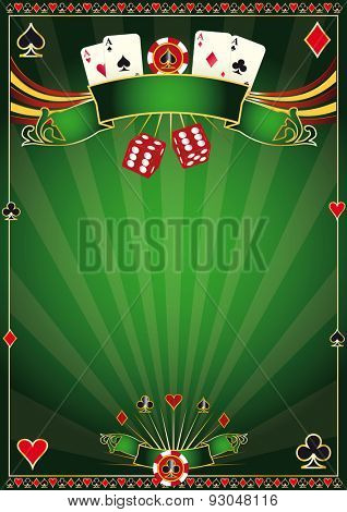 Green Casino. A green poster casino for your poker tournament