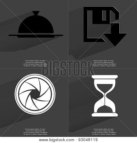 Tray, Floppy Disk Download Icon, Lens, Hourglass. Symbols With Long Shadow. Flat Design
