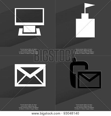 Monitor, Flag Tower, Message, Sms Icon. Symbols With Long Shadow. Flat Design