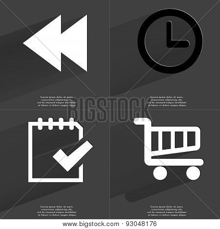 Two Arrows Media, Clock, Task Completed Icon, Shopping Cart. Symbols With Long Shadow. Flat Design