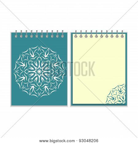 Blue cover notebook with round florwer pattern