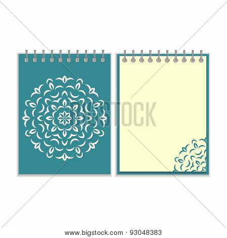 Spiral blue cover notebook with round ornate pattern