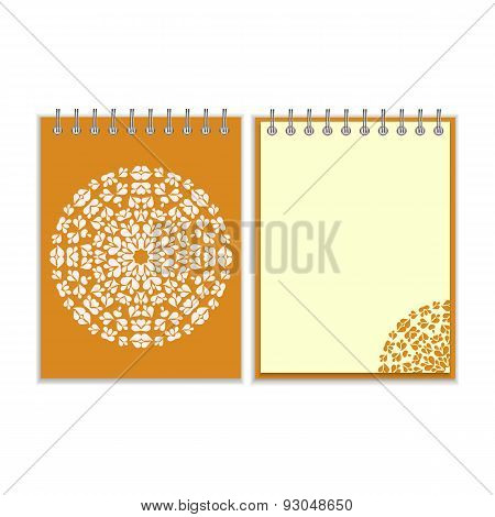 Orange cover notebook with round pattern