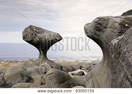 Rock formation at coastline
