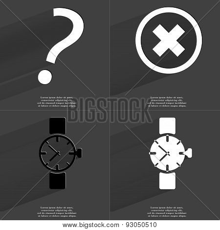 Question Mark, Stop Sign, Wrist Watch. Symbols With Long Shadow. Flat Design