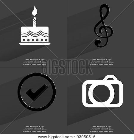 Cake, Clef, Tick Sign, Camera. Symbols With Long Shadow. Flat Design