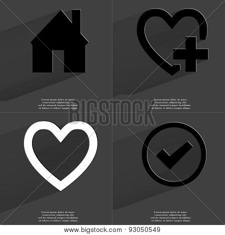 House, Heart Plus Sign, Tick. Symbols With Long Shadow. Flat Design