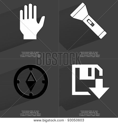 Hand, Flashlight, Compass, Floppy Disk Download Icon. Symbols With Long Shadow. Flat Design