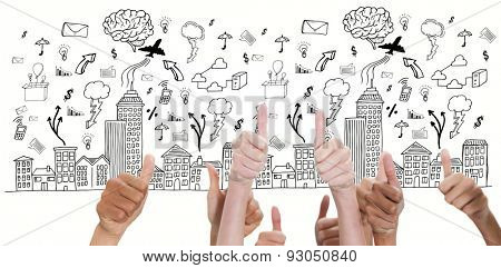 Thumbsup against cityscape with brainstorm