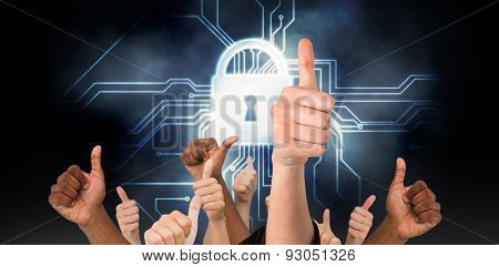 Hands showing thumbs up against circuit board and lock graphic