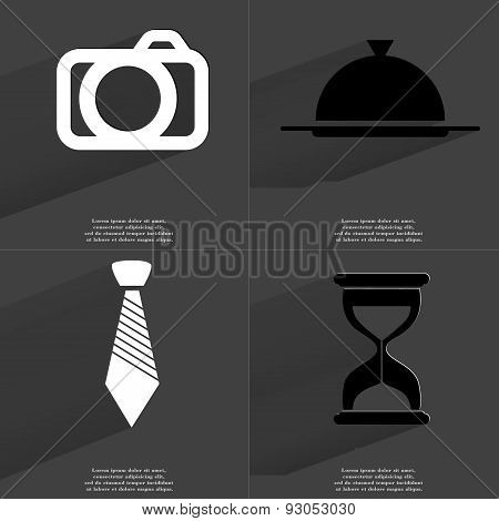 Camera, Tray, Tie, Hourglass. Symbols With Long Shadow. Flat Design
