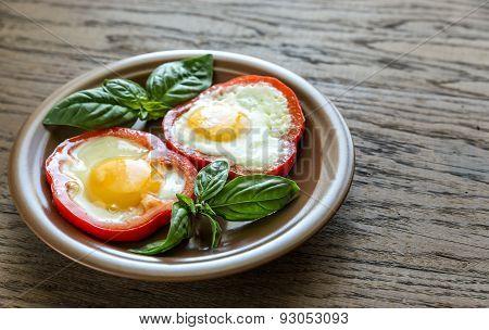 Fried Eggs In Bell Pepper Slices