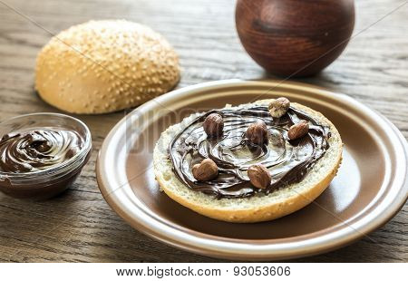 Sesame Bun With Chocolate Cream And Nuts