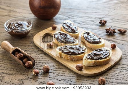 Slices Of Baguette With Chocolate Cream