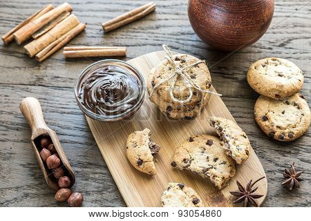 Cookies With Chocolate Cream And Hazelnuts