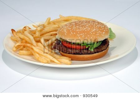 French Fries And Hamburger On A Plate
