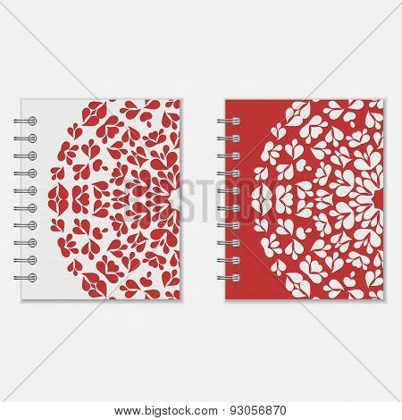 Two red and white notebook covers design