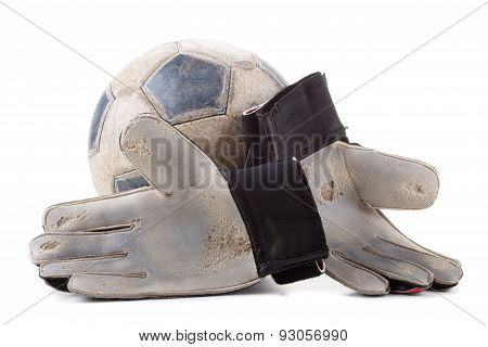 Soccer Goalkeeper Gloves And The Ball