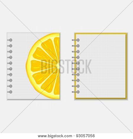 Notebook cover design with bright lemon