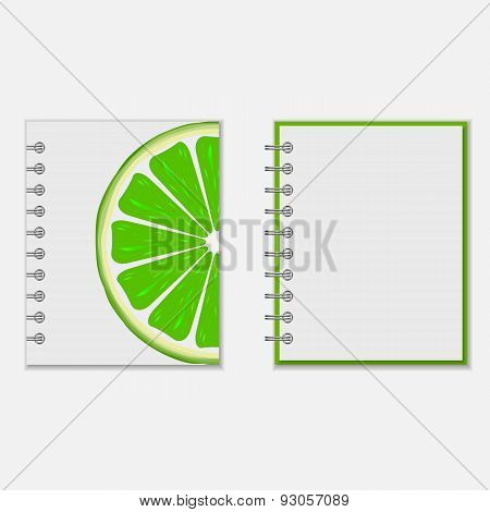 Notebook cover design with bright lime