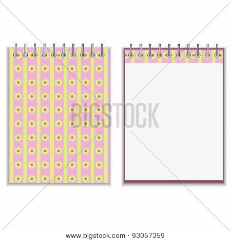 Floral style pink and yellow notebook cover design