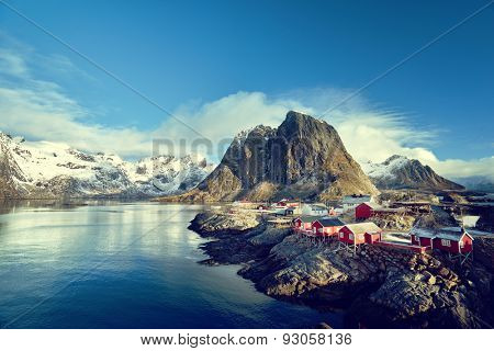 Fishing huts at spring day - Reine, Lofoten islands, Norway