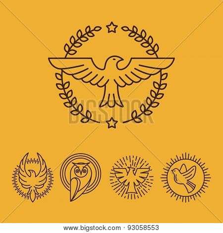 Vector Eagle And Falcon Icons