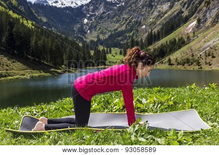 Woman In Neutral Pose During Cat Cow Flow Outdoors In Nature