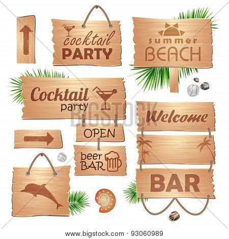 Set Of Wooden Signboards. Summer