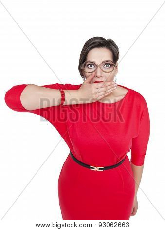 Plus Size Woman In Glasses Covering Her Mouth With Hand Isolated