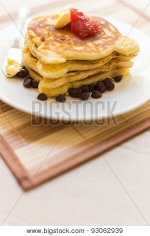 Pancake Stack With Strawberry Jam