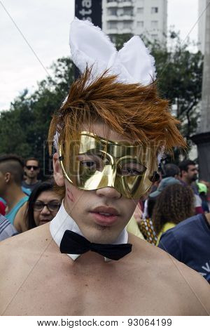One Person Wearing Costume In Pride Parade Sao Paulo