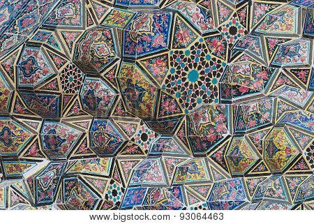 Exterior detail of the Nasir al-Mulk mosque in Shiraz, Iran.