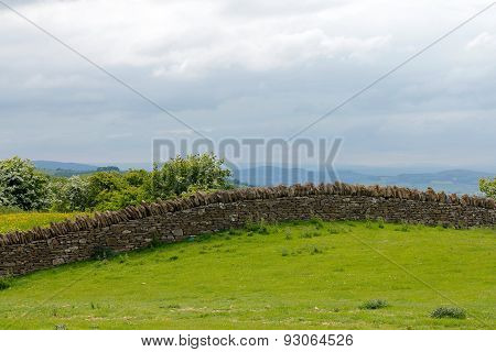 Dry Stone Wall On Cotswold Hill