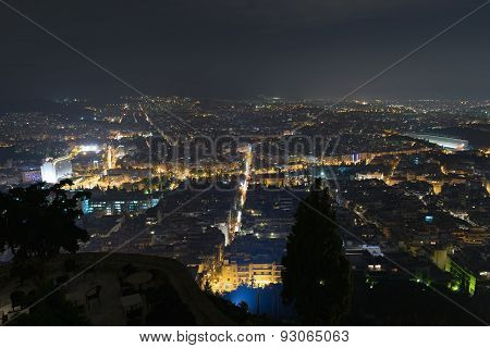Athens Greece city lights. Crossroads night view.