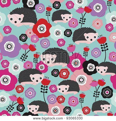 Seamless hedgehog summer garden flower illustration kids colorful background pattern in vector