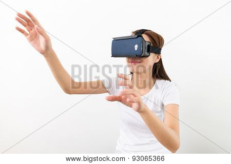 Young Woman experience virtual reality on cellphone