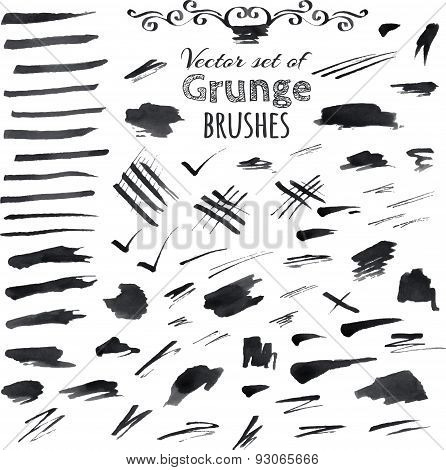 Black Ink Vector Brush Strokes